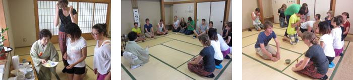 文教キャンパスで学生会館で茶道のお稽古に参加しました。